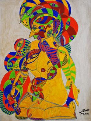 Akt, 60x80cm, Acryl auf Papier