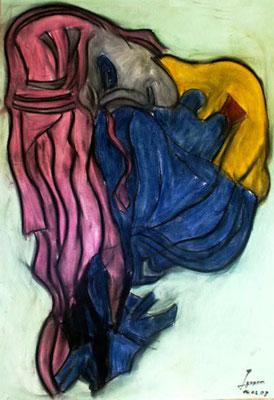 Meerjungfrau II, 70x100 cm, Kohle / Kreide auf Papier