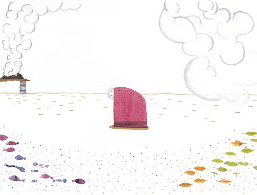 「ノアの箱舟」:透明水彩:B4