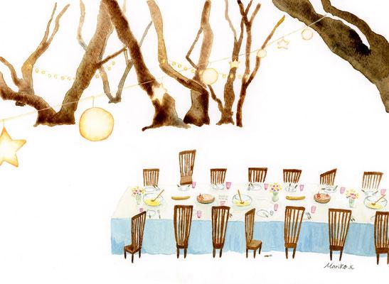 ハーヴェストの森展にて発表「おませなお茶会」:水彩:F4