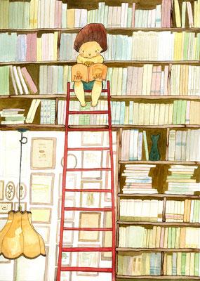 図書週間のためのイラストレーション:透明水彩:A4