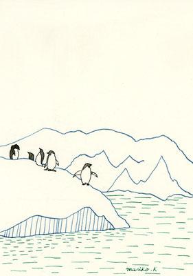 「南極」:カラーインク