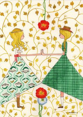 児童書「ふたりのロッテ」のためのイラストレーション:透明水彩:A4