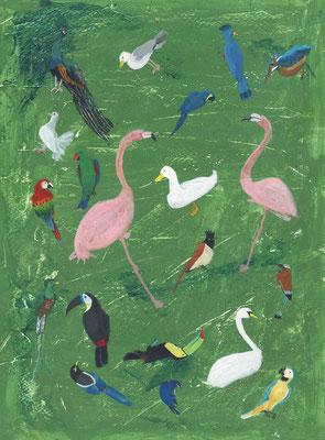 鳥:アクリル絵具:A4