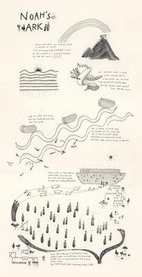 「ノアの箱舟」:鉛筆、色鉛筆