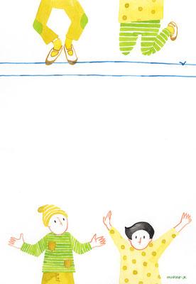 「ゴム跳び」透明水彩:A4