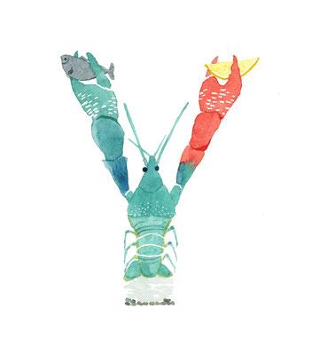 アニマルアルファベット「Yabby」:水彩