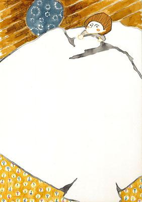 装画 ヨハンナ・シュピリ「アルプスの少女ハイジ」:カラーインク