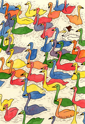 「七色鳥」:カラーインク:B6