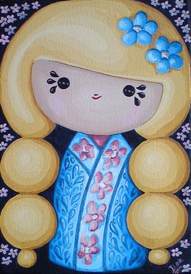 SOLD Blonde Kokeshi, acrylic on canvas