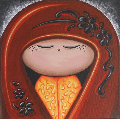 SOLD Chisana akai, acrylic on canvas