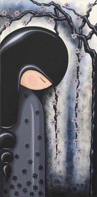Kokeshi Doll diptych (1), acrylic on canvas