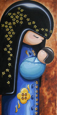 SOLD Kokeshi Doll Mother and Baby, acrylic on canvas