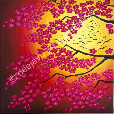 Blossom Sunset, acrylic on canvas