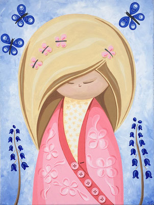 SOLD Kokeshi with Bluebells, acrylic on canvas