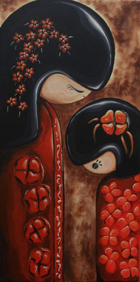 SOLD Kokeshi Doll Mother and Child, acrylic on canvas