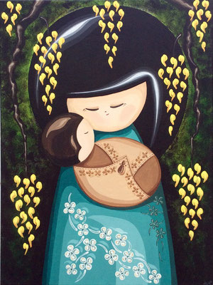 SOLD Kokeshi Mother and Baby, acrylic on canvas