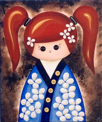 SOLD Red Kokeshi Doll, acrylic on canvas