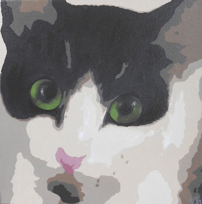 Green eyed cat painting on canvas