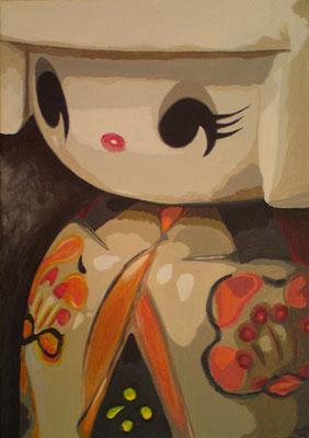 SOLD Cream Kokeshi, acrylic on canvas