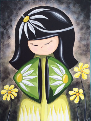 Daisy Kokeshi, acrylic on canvas