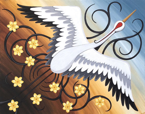 SOLD Japanese Crane with Blossom, acrylic on canvas
