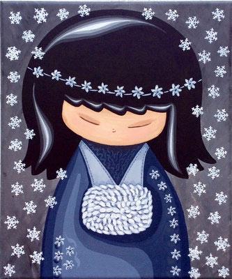 SOLD Snow Kokeshi, acrylic on canvas
