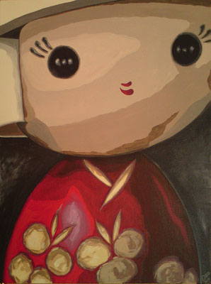 SOLD Kokeshi Doll original acrylic painting on canvas