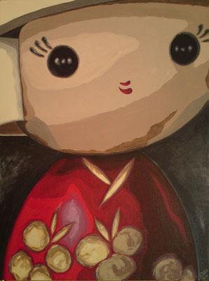 SOLD Kokeshi Doll, acrylic on canvas