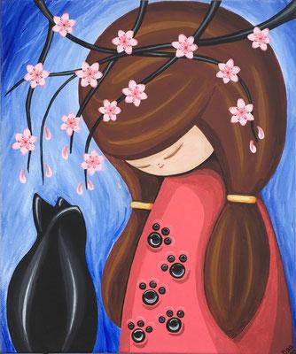 SOLD My Maneki Neko, acrylic on canvas