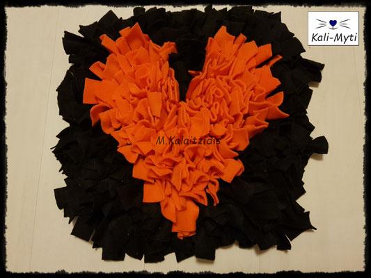 Motiv: Herz - Größe M - Orange auf Schwarz