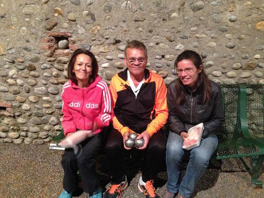 La triplette victorieuse : Marie-Hélène, Jean-Marie, Sandra
