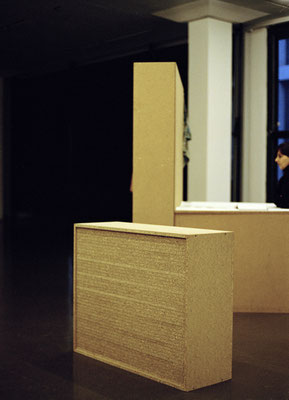 """Ausstellungsansicht, """"Arbeitsplatz"""" und """"Regal gefüllt mit Brett"""", Akademie [Arbeitstitel], Kunsthalle Düsseldorf, (Foto: Bastian Buddenbrock)"""