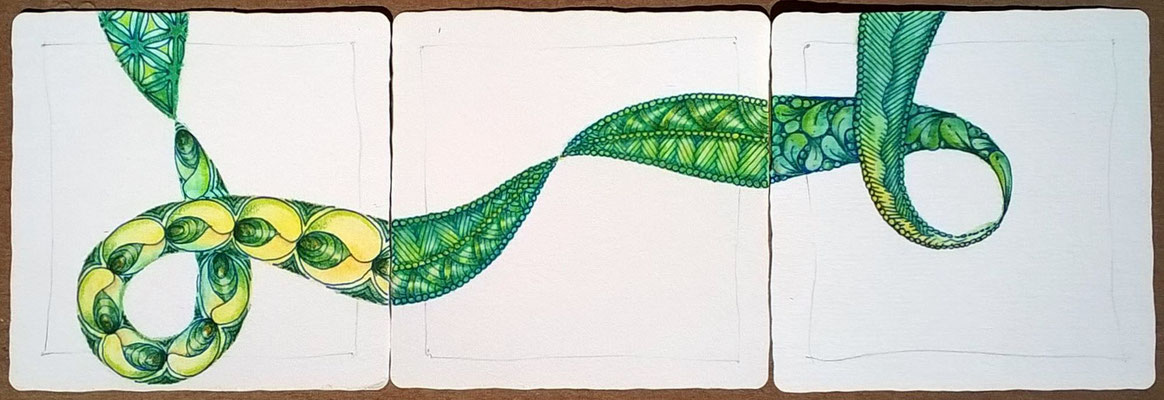 tangling on the green ribbon with a blue pen