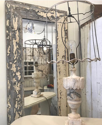 alabaster lighting lamps lamp shadeless antique vintage antique white cream small business local shops grey chester NJ new jersey chandelier edison bulb shade