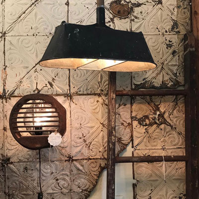 plunger bathroom light lighting lamp hanging chandelier industrial different one of a kind shops local sconce wall rusty metal vent  repurposed unique small business chester new jersey USA black antique vintage