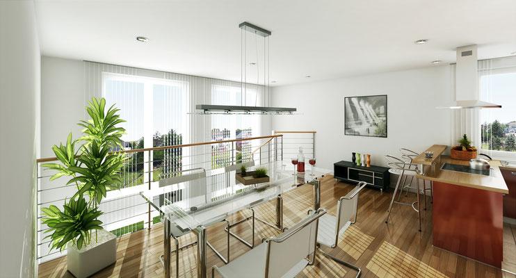 Innenraumvisualisierung Wohnbereich