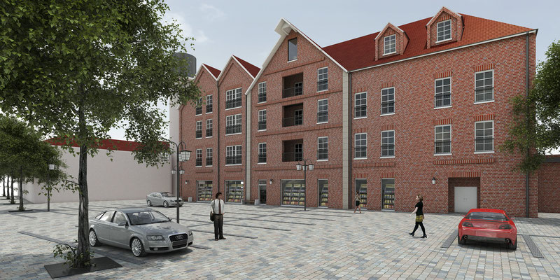 Bauschild für den Umbau eines Mehrfamilienhauses