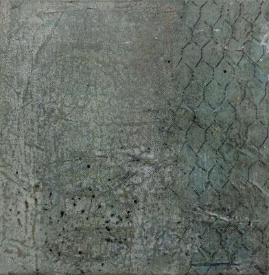 No.1 Gesteinsmehle, Papiere, Monotypie, Pigmente, Wachs auf Leinwand 20cm x 20cm