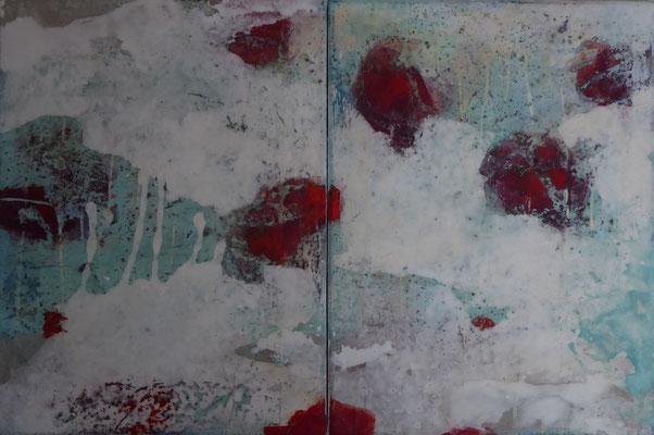 No.11 Papier, Gesteinsmehle, Pigmente auf Leinwand, 2-teilig, 40x60