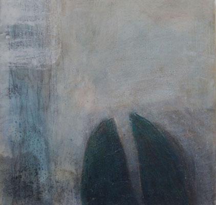 No.3 Gesteinsmehle, Papiere, Pigmente, Wachs auf Leinwand 40cm x 40cm