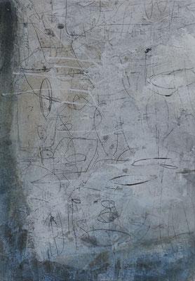 No.8 Gesteinsmehle, Papiere, Monotypie, Pigmente, Wachs auf Leinwand 50cm x 70cm