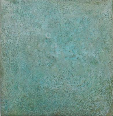 No.7 Gesteinsmehle, Papiere, Pigmente, Wachs auf Leinwand 20 x 20 cm