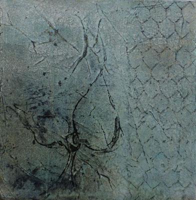 No.3 Gesteinsmehle, Papiere, Monotypie, Pigmente, Wachs auf Leinwand 20cm x 20cm