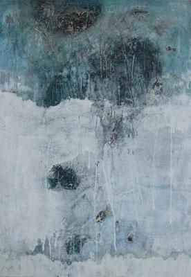 No. 2 Papier, Gesteinsmehle, Pigmente auf Leinwand, 50x70