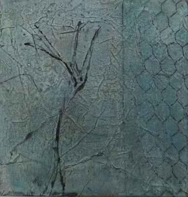 No.4 Gesteinsmehle, Papiere, Monotypie, Pigmente, Wachs auf Leinwand 20cm x 20cm