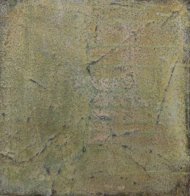 No.2 Gesteinsmehle, Papiere, Pigmente, Wachs auf Leinwand 20 x 20 cm