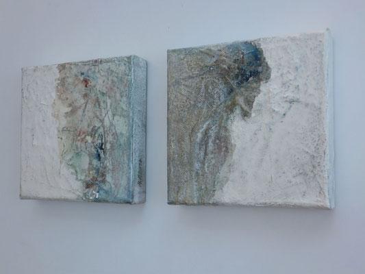 No.8 und No.9 Gesteinsmehle, Papiere, Pigmente, Wachs auf Leinwand 20 x 20 cm