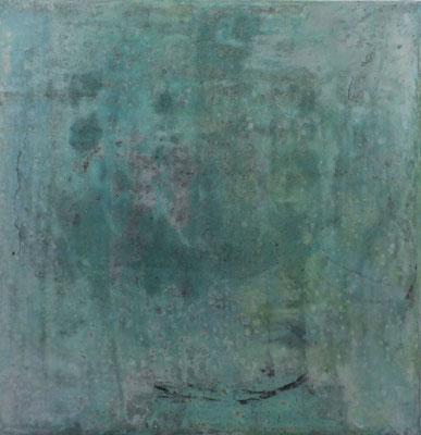 No.5 Gesteinsmehle, Papiere, Pigmente, Wachs auf Leinwand 20 x 20 cm