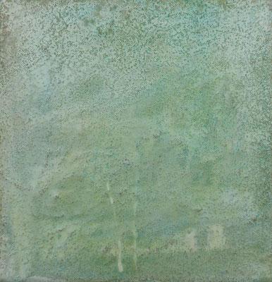 No.6 Gesteinsmehle, Papiere, Pigmente, Wachs auf Leinwand 20 x 20 cm